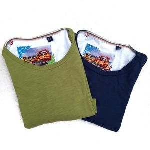 2 Robert Graham Shirts Large Solid Green and Blue